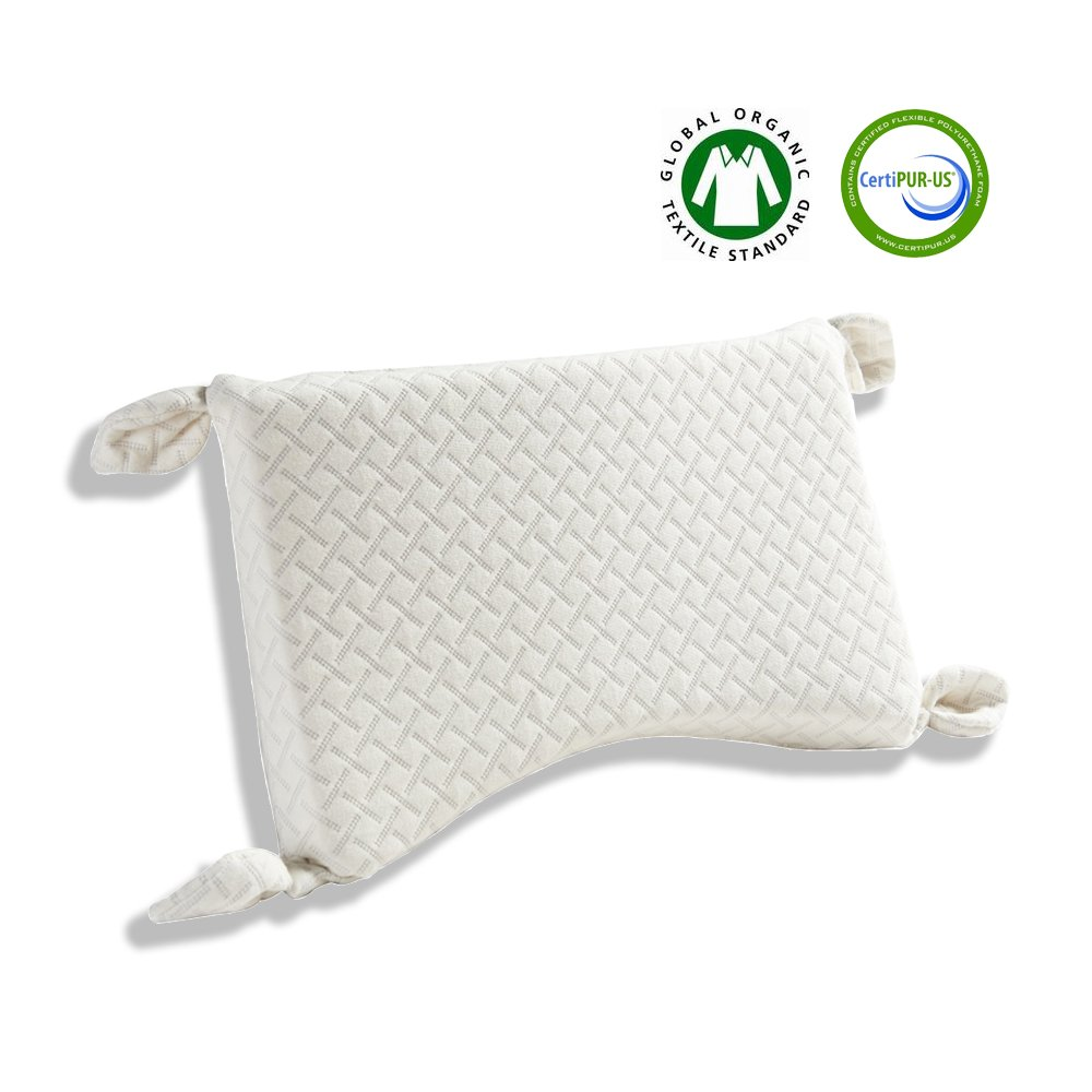 Kachabros Toddler Pillow with Organic Pillow case Kid's Height Adjustable Pillow with 2-layer Memory Foam Anti-mite Antibacterial