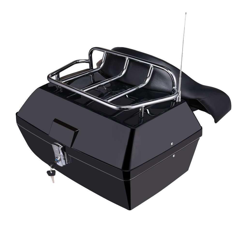 Catinbow Motorcycle Trunk Tail Tour Luggage Pack Rack & Dual Cushion Backrest Harley Honda Yamaha Kawasaki Cruisers