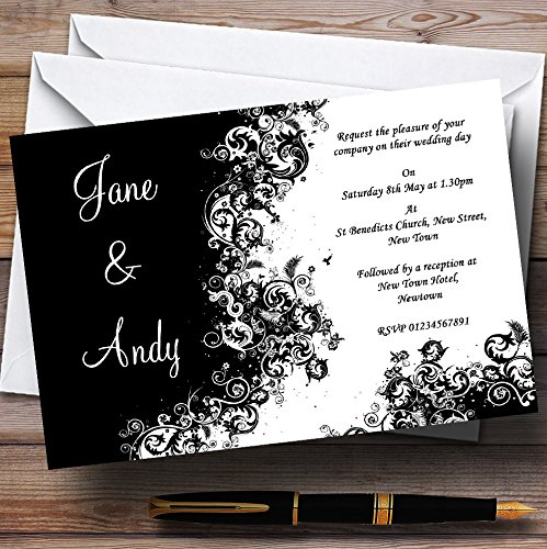 (Black White Swirls Personalized Wedding Invitations)