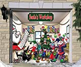 Outdoor Christmas Holiday Garage Door Banner Cover Mural Décoration - Santa's Workshop Holiday Garage Door Banner Décor Sign 7'x8'