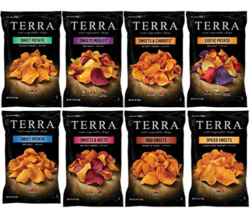 Terra Real Vegetable Chips Variety Pack Sampler, Large Family Size Bags, 5.5 Ounce (8 Count)