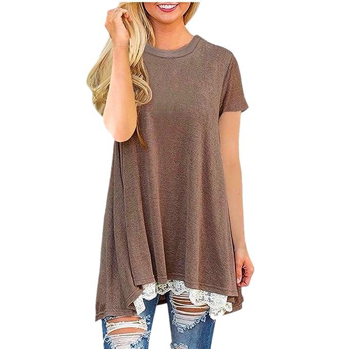 Logobeing Camisetas Mujer Baratas Camisa de manga corta tallas grandes con cuello en V para mujer