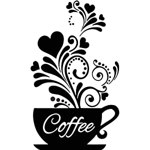 CUNYA Black Coffee Decor Wall Stickers, Blackboard Coffee Lovers Gift Wall Art Decals Quotes, DIY Fridge Cup Art Wallpaper for Java Shops, Restaurants, Coffee Bar, Kitchen Home Decor Gifts
