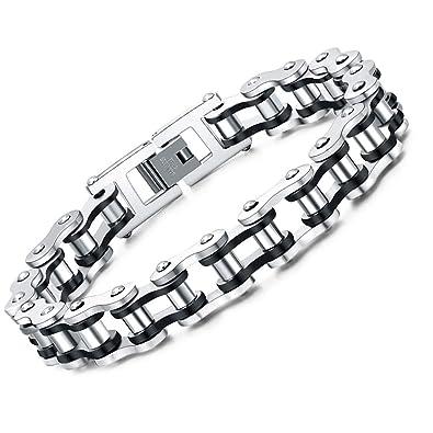 check-out 0bc37 5e4c3 faysting EU Bracelet chaîne en acier inoxydable moto personnalisé Rocher  Style des hommes