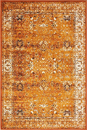 Unique Loom Imperial Collection Modern Traditional Vintage Distressed Terracotta Area Rug (4' 0 x 6' 0) (Terra Cotta Rug)