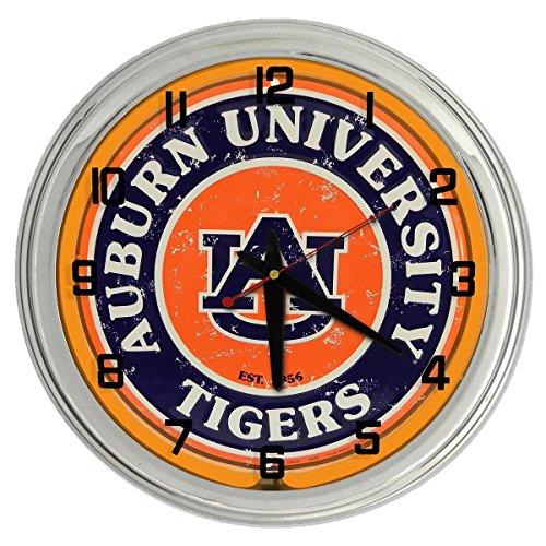 Ncaa College Neon Clock - Auburn University Tigers Orange Neon clock from Redeye Laserworks