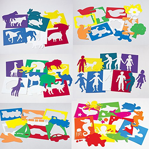 Plastic Art Stencils - Set of 6 Large Sized Stencil Sets by Constructive Playthings