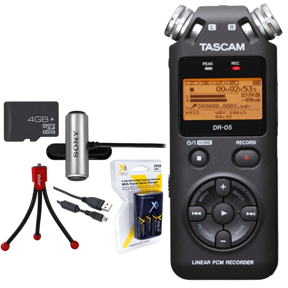 Tascam Portable Digital Recorder (DR-05) w/Bundle + AA Charger (100-240v) w/4 2950mah AA Batteries + Flexible Mini Table-top Tripod + Clip style Omnidirectional Stereo Microphone E2TSDR05