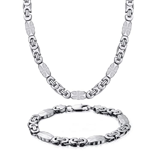 Westmia Jw 9mm Mens Stainless Steel Cross Bracelet Necklace Sets