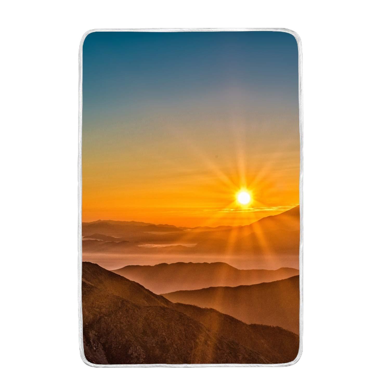 ソフトクイーンサイズ毛布 オールシーズン 暖かい ファジーマイクロプラッシュ 軽量ブランケット ソファ ベッド ソファ 60x90インチ ツリーフォグトップビュー one size B07KXH3K1P Mount Fuji Japan Sun5