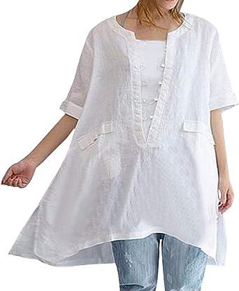 Camisa Larga De Verano Las De Señoras Tops Casuales Modernas Casual De La Blusa Camisa De La Manera Cómoda Cuello Redondo De Manga Corta Tops Tops De La Blusa: Amazon.es: Ropa y