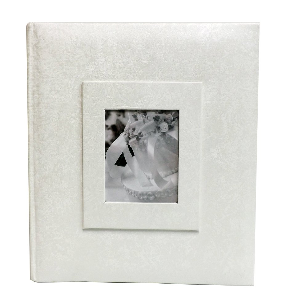 Wedding Story Photo Album/(Bulk -Dozen of albums)Jaquard Design w/window , White,Holds 200photos, 5''x7'' Photos by Showoff Albums