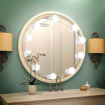 Luz de Espejo LED Luces de Espejo Bombillas para Espejo Iluminación con 10 Bombillas LED Regulables