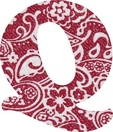 ペイズリー柄 生地 アルファベット Q アップリケ レッド アイロン接着可能 大文字 coop (5cm)の商品画像