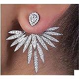 mode lobe ear jacket earcuff Boucles d'oreilles plaqué argent en cristal avant arrière oreille