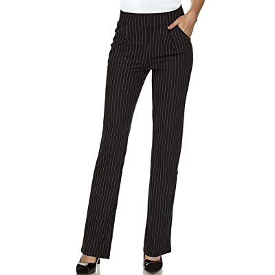 2LUV Women's Stretch Pinstripe 4 Pocket Pull on Dress Pants Black L