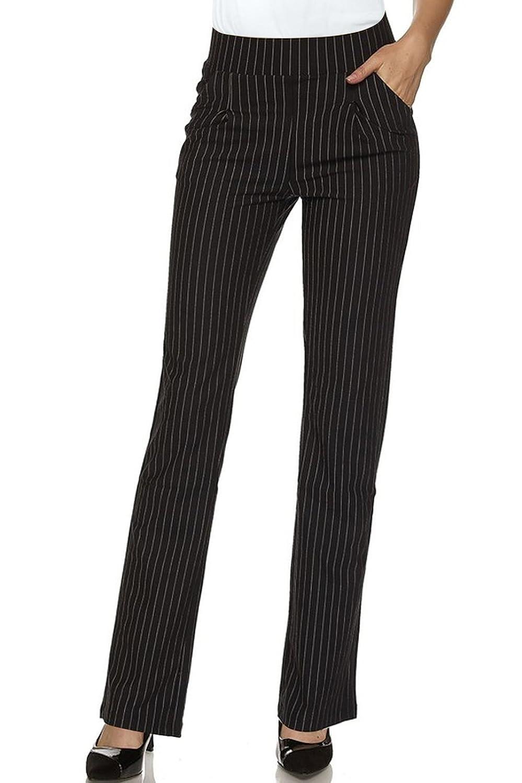 2LUV Women's Stretch Pinstripe 4 Pocket Pull on Dress Pants Black L