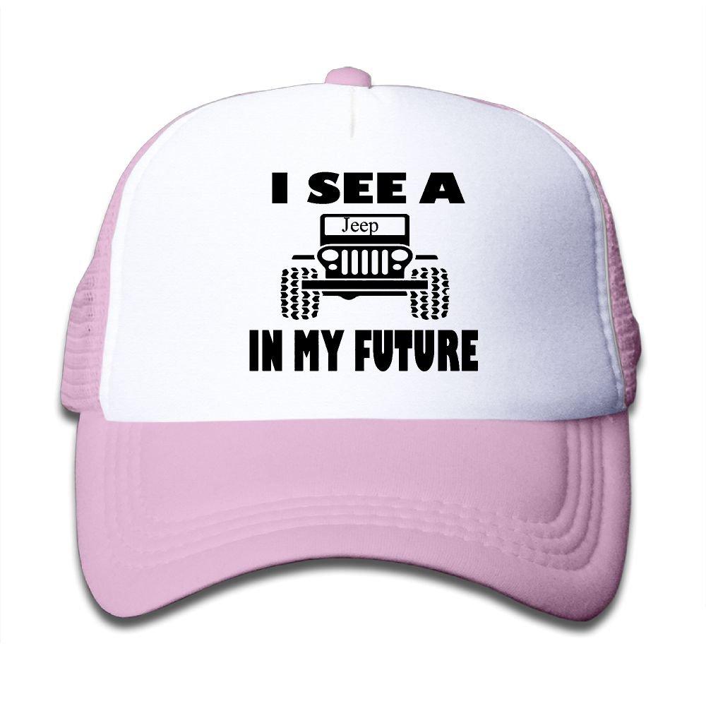 I See aジープin My Futureメッシュ帽子Truckerスタイルアウトドアスポーツ野球キャップwith調節可能なスナップバックストラップfor Kid 'sピンク One Size ピンク B076XW19ML