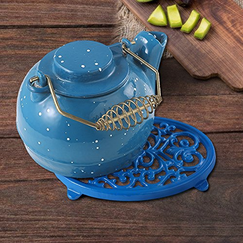 Round Cast Iron Trivet Royal Blue Metal Trivets for Kitchen Dining by JOGREFUL