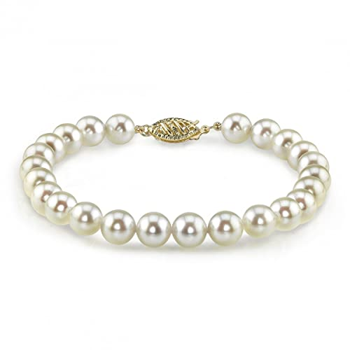 14K Gold 5.5-6.0mm Japanese Akoya White Cultured Pearl Bracelet - AAA Quality