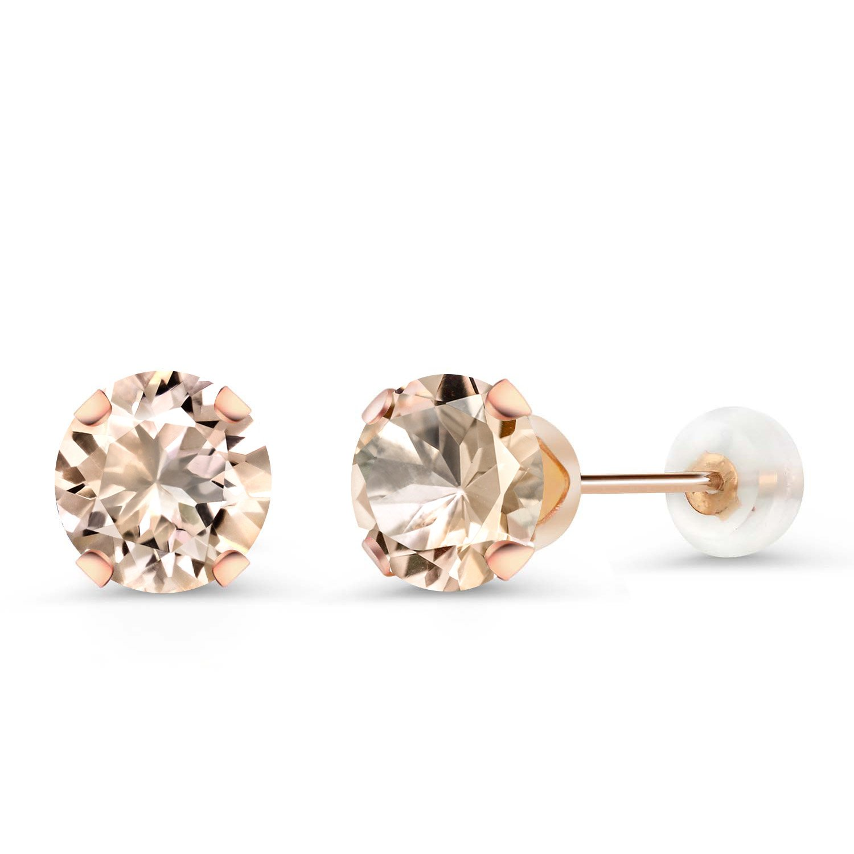 1.20 Ct Round 6mm Peach Morganite 10K Rose Gold Stud Earrings
