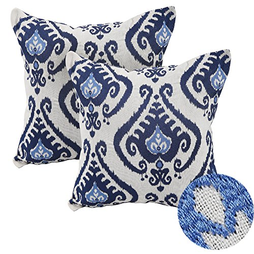 Deconovo Pack of 2 Embroidered Cushion Covers Vintage Floral Throw Pillow Cases for Couch Blue 18 x 18 Inches Set of 2