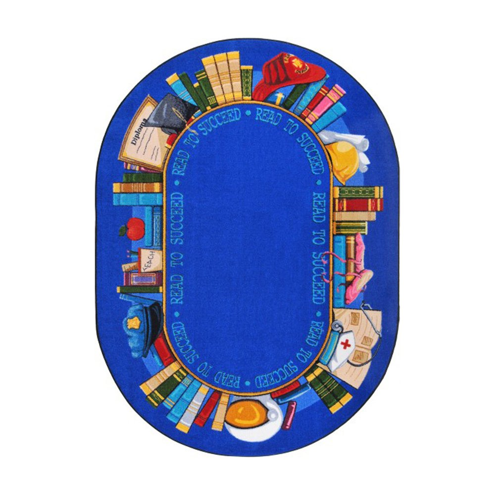 Joy Carpets Kid Essentials Language & Literacy Oval Read to Succeed Rug, Multicolored, 5'4'' x 7'8''