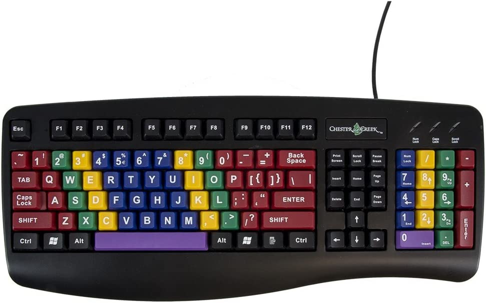 AbleNet LessonBoard 12000029 USB Wired Connection Standard-Size Computer Keyboard with Color-Coded Keys and PS/2 Adapter Included for Training and Practice Touch Typing from an Early Age
