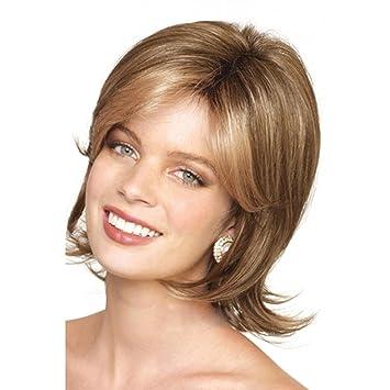 SHKY Pelucas onduladas onduladas del pelo rubio rizado de las mujeres con estilo Pelucas sintéticas a