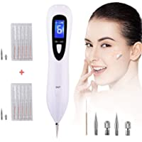 Beauty Mole Removal Sweep Spot Pen Mole Remover Pen Kit New Portable USB with Replacement Needles 6 Gears Adjustable Power LCD Display Dot Remover Machine for Dark Spot Freckles Tattoo (White)