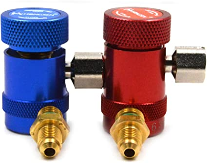 Vigorflyrun pi/èces Ltd 1/Paire R-1234yf Rouge et Bleu Basse et Haute Pression c/ôt/é Manuel Coupler r/éfrig/érant Raccord Rapide connecteur pour Jaguar Land Rover