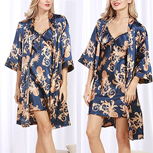 Zhhlinyuan Fashion Ladies Long Kimono Robe Silk Satin Dressing Gown Set Royal Blue