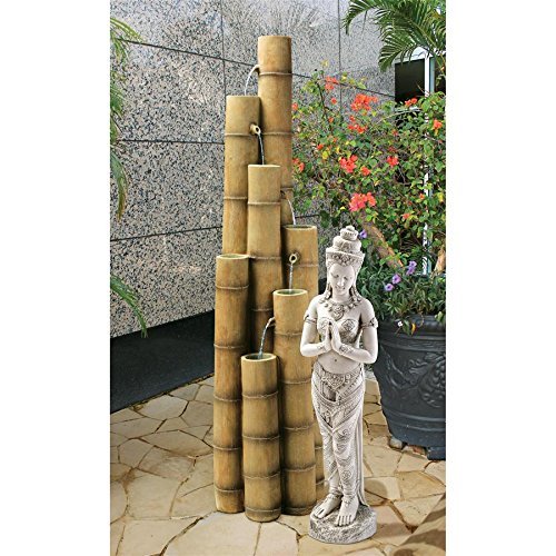 Asian Decor Water Fountain – Nearly 5 Foot Tall Cascading Bamboo Fountain – Outdoor Water Feature For Sale