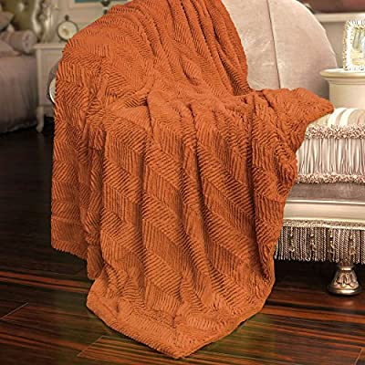"""Home Soft Things Herringbone Faux Fur Throw, 60"""" x 80"""", Burnt Orange - Oversize Throws; Size: 60"""" x 80"""" ; Great Size For Nap & Cuddle with Your Love Ones. 100% Polyester ; Soft and Fluffy Perfect Gift Package!! Folded with Tile Card and Ribbon - blankets-throws, bedroom-sheets-comforters, bedroom - 612INqJLWjL. SS400  -"""
