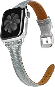 Wearlizer Leather Compatible with Apple Watch Bands Series 6 5 4 40mm Series 3 38mm for iWatch SE Womens Gradient Glitter Smooth Thin Shiny Wristband Bling Slim Strap, Seri 2 1 Sport-Green White