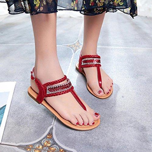Chanclas de Zapatillas Las Cómodo Bohemia Sandalias Zapatos Y Gladiador Cordones Elegante de Mujer Playa Rojo Planas Moda y De Cuero Bailarinas Sandalias Diamante ASHOP Verano 1UqxO0wU