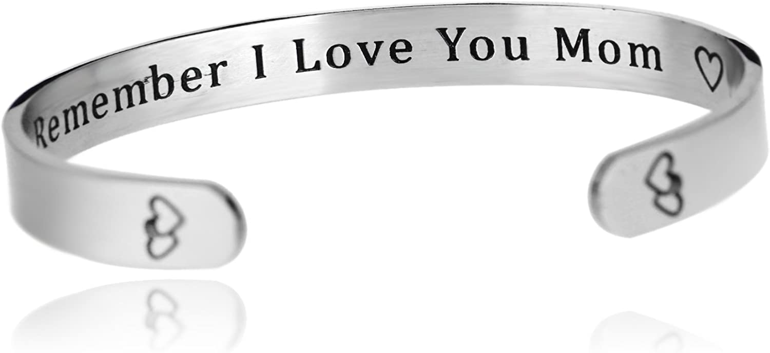 linnalove Remember I Love You Mom Charm with Heart Links Bracelets from Mom and Daughter Birthdays SS