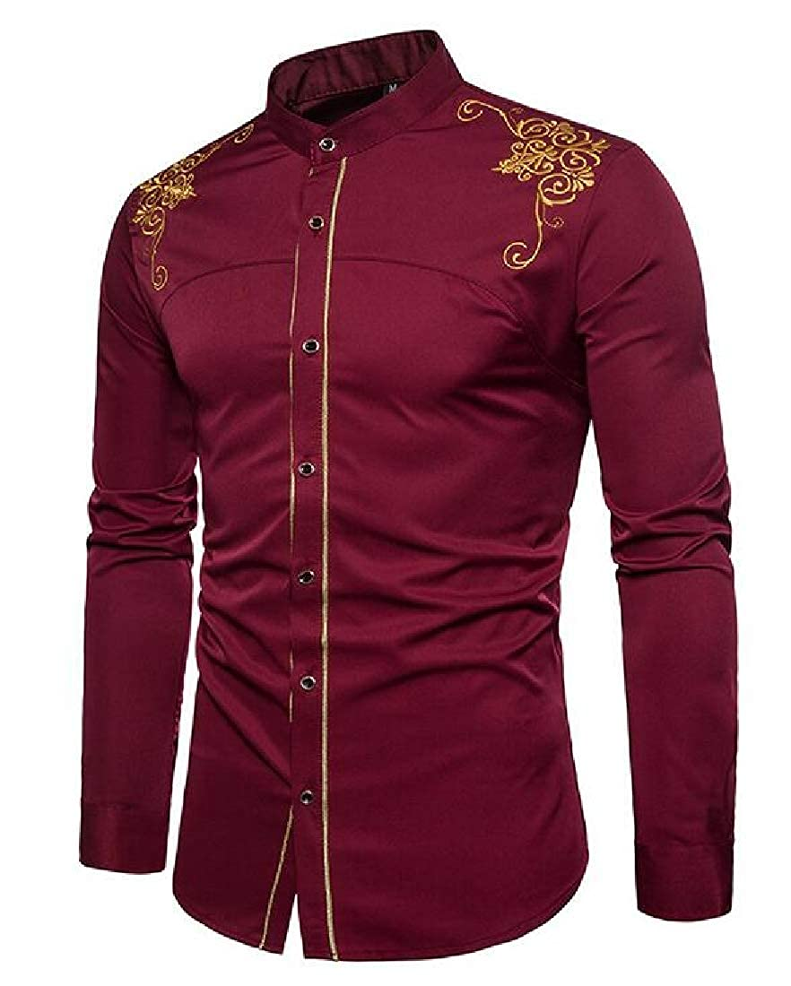 Domple Mens Formal Long Sleeve Embroidery Regular Fit Button Up Dress Shirt