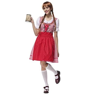 91766b35aa Molie Womens Scottish Style Plaid Skirt Bavarian Oktoberfest Costumes  Halloween Cosplay Dresses  Amazon.co.uk  Clothing