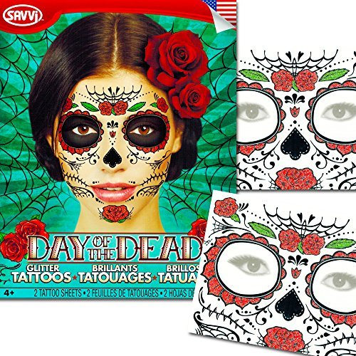 Sugar Skull Temporary Tattoos Costume Kit (Set of 2 Day of the Dead Tattoos, Rose Design)