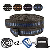 Extra Strength Hammock Tree Straps - 9.2~10.5 ft 100% No Stretch Hammock Straps Set Versatile 2000+ LBS Suspension System Kit for Camping Hammock (black+blue)