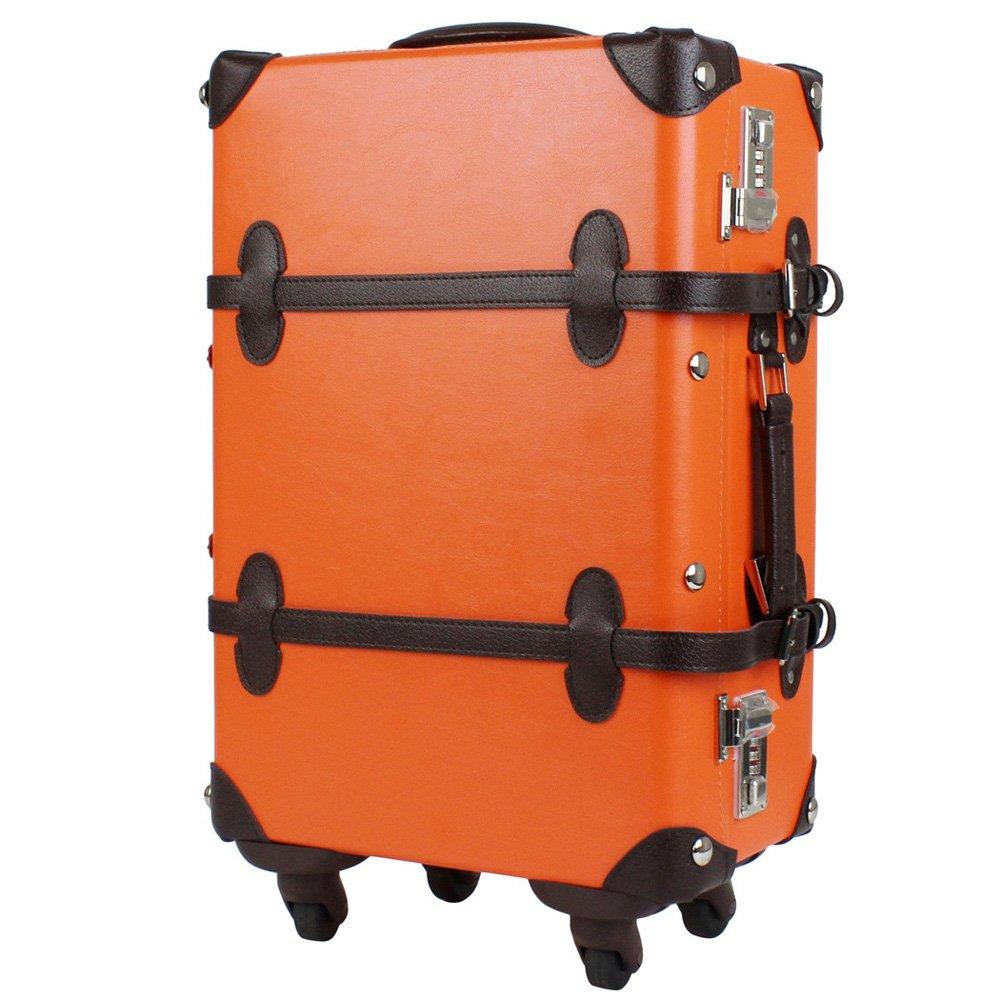 【CROSS ROAD(クロスロード)】(WORLD TRAUNK)4輪トランクキャリーケース 205406346f S オレンジ/ブラウン B06Y4HLGG3