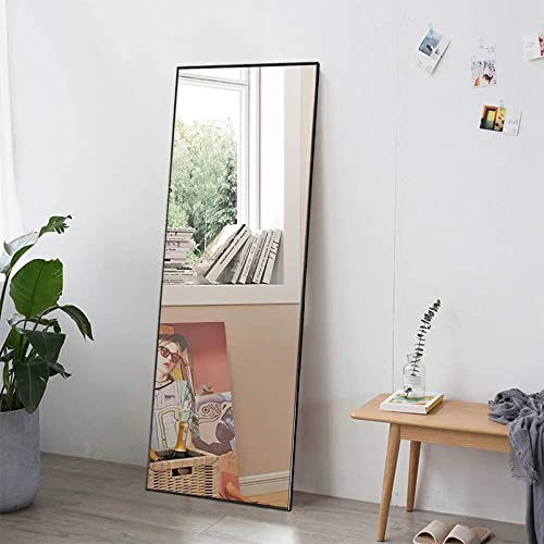 NeuType Rectangle Floor Mirror Full Length Mirror with Standing Holder Hanging Mirror Wall-Mounted Dressing Mirror Black 59 x20 , with Stand