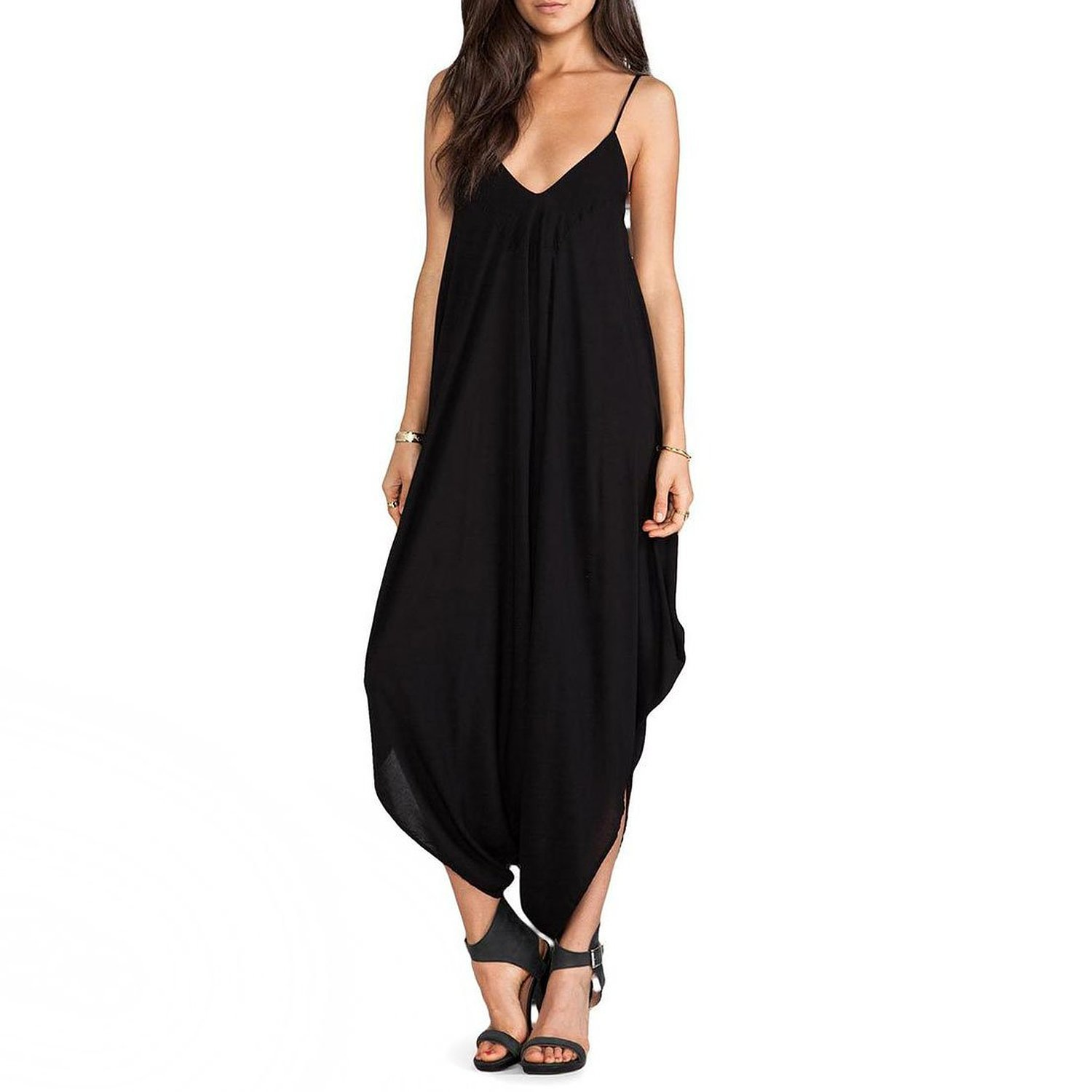 iRachel Women's V-neck Loose Playsuit Harem Cross Pant Jumper Long Rompers