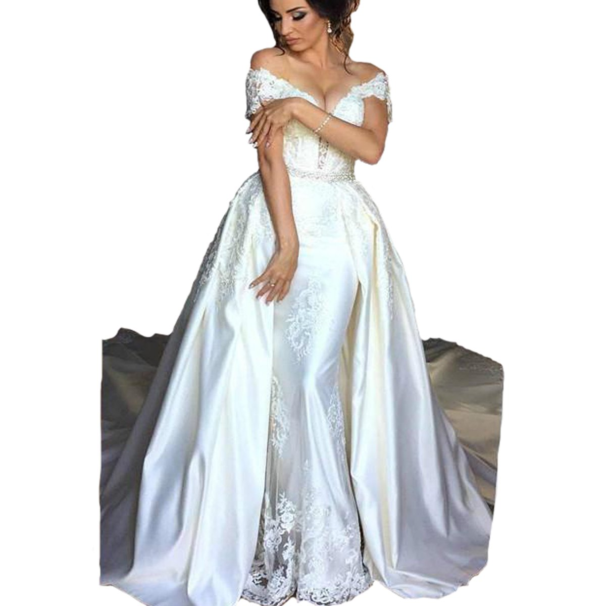 Fair Lady Sexy Lace Satin Mermaid Wedding Dresses V Neck Cap Sleeves