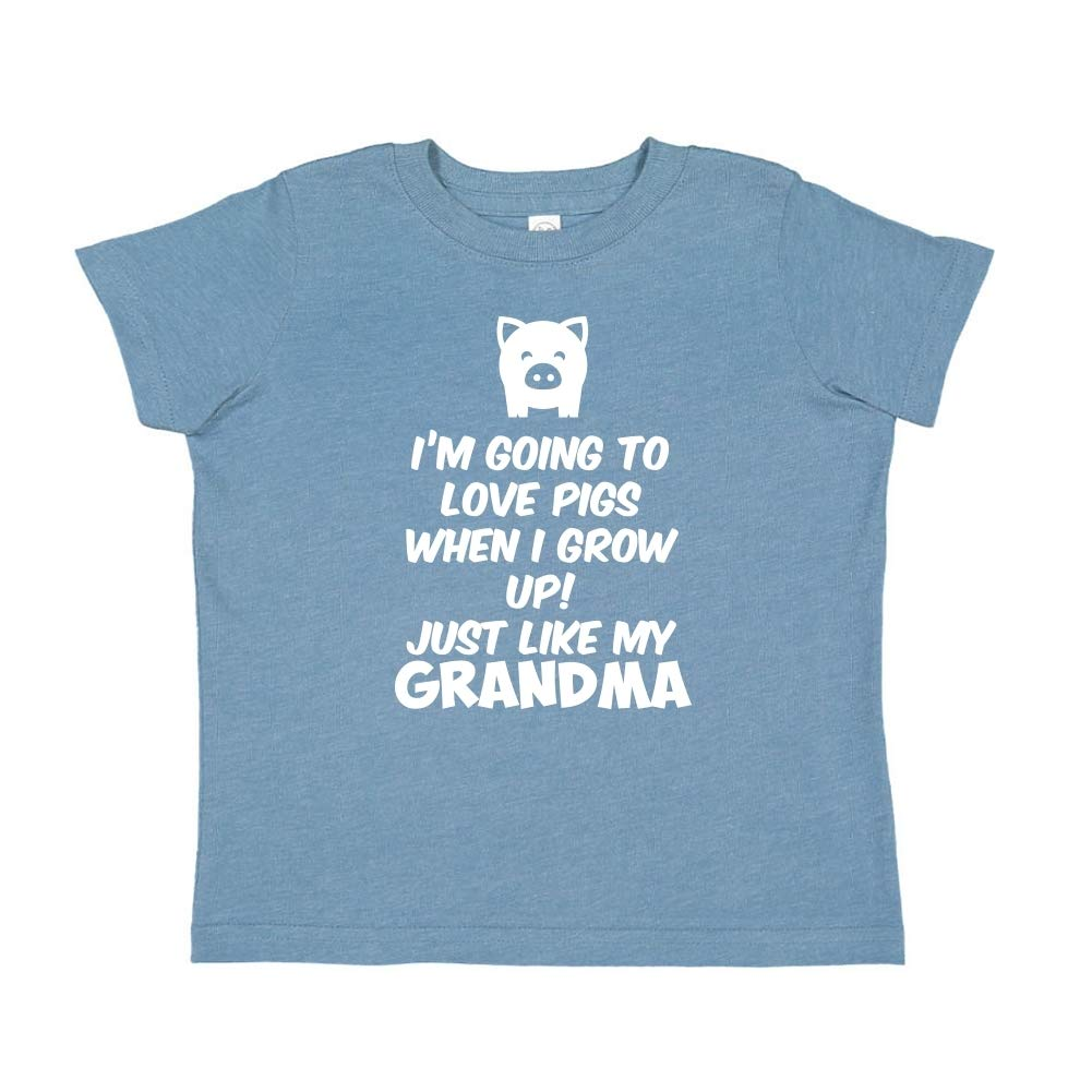 Im Going to Love Pigs When I Grow Up Toddler//Kids Short Sleeve T-Shirt Just Like My Grandma