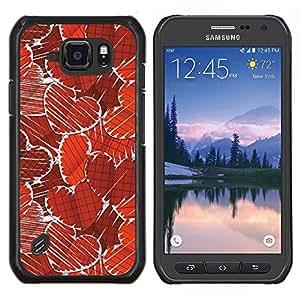 YiPhone /// Prima de resorte delgada de la cubierta del caso de Shell Armor - Corazones rojo del papel pintado del arte del amor romántico - Samsung Galaxy S6Active Active G890A