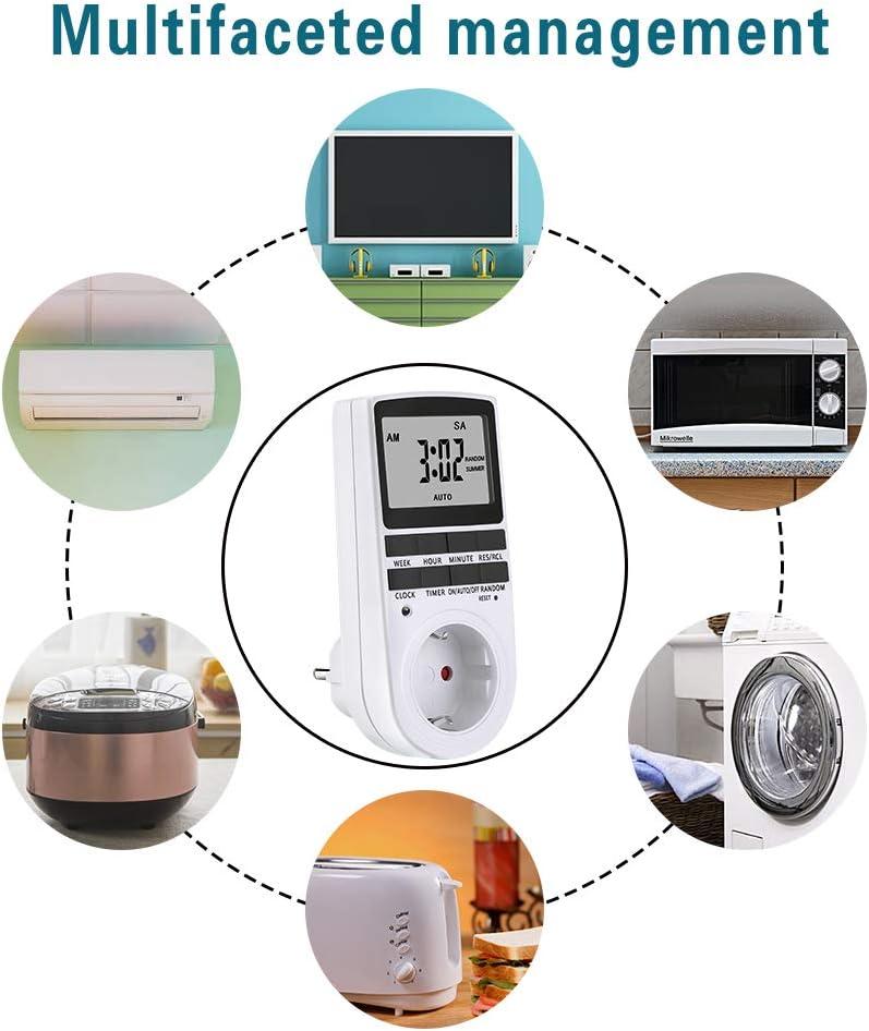 Ahorrar Energ/ía y Dinero Temporizador Digital Programable con Pantalla LCD Grande Temporizador Digital Interruptor deToma de Modo 3680W 12 // 24h con 10 Programas Configurables