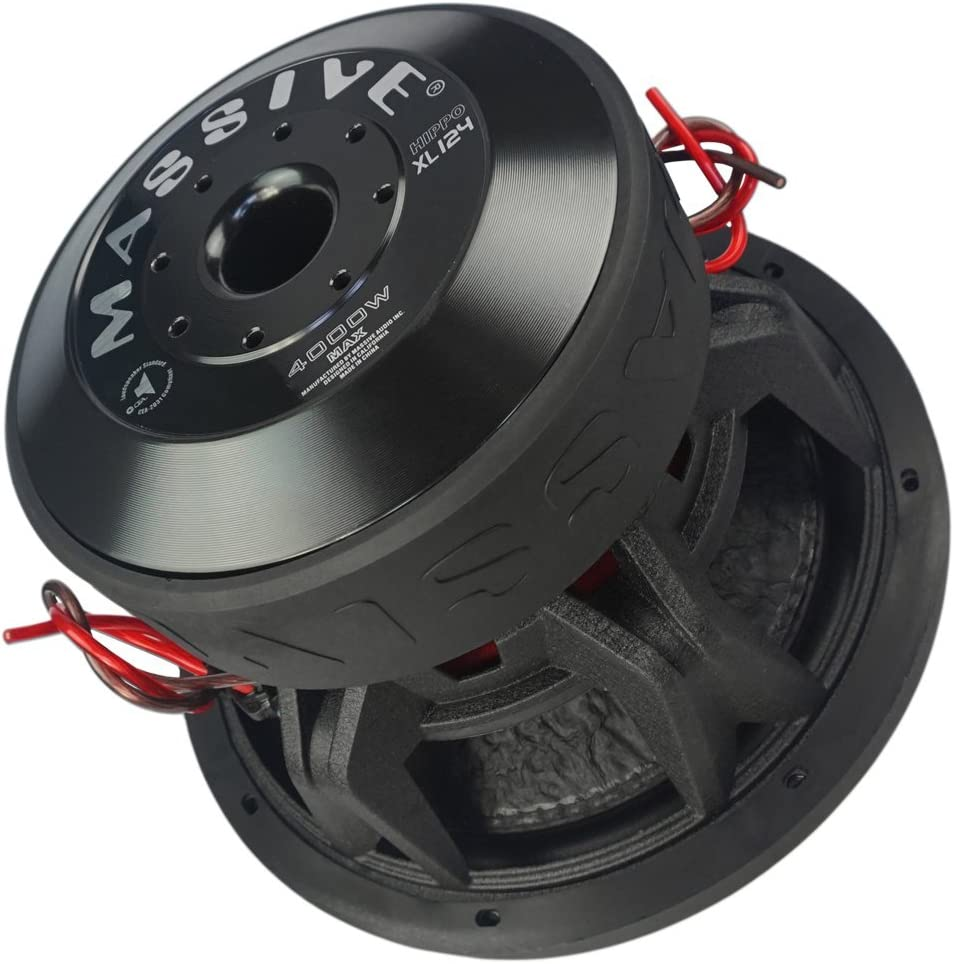 Car Subwoofer by Massive Audio HippoXL124 - SPL Extreme Bass Woofer - 12 Inch Car Audio 4,000 Watt HippoXL Series Competition Subwoofer, Dual 4 Ohm, 3 Inch Voice Coil. Sold Individually