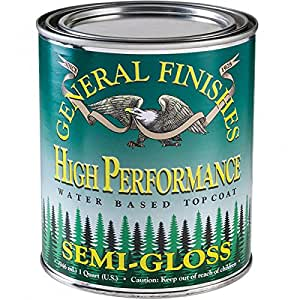 General Finishes Water Based High Performance Polyurethane Top Coat Semi-Gloss Quart